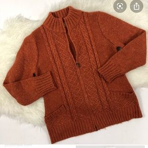 ROYAL ROBBINS Chunky Cable Knit Zip Up Sweater
